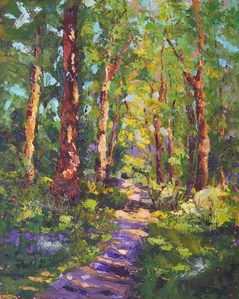 """Sherwood Forest Walk palette knife oil painting"" original fine art by Marion Hedger"