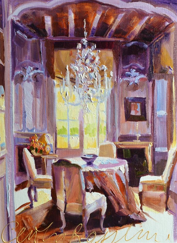 """CHANDELIER VIEW"" original fine art by Cecilia Rosslee"