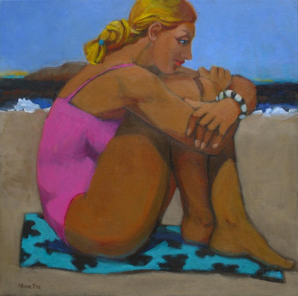 """The Bracelet, contemporary figure painters, modern figurative painting, woman, beach,"" original fine art by Marie Fox"