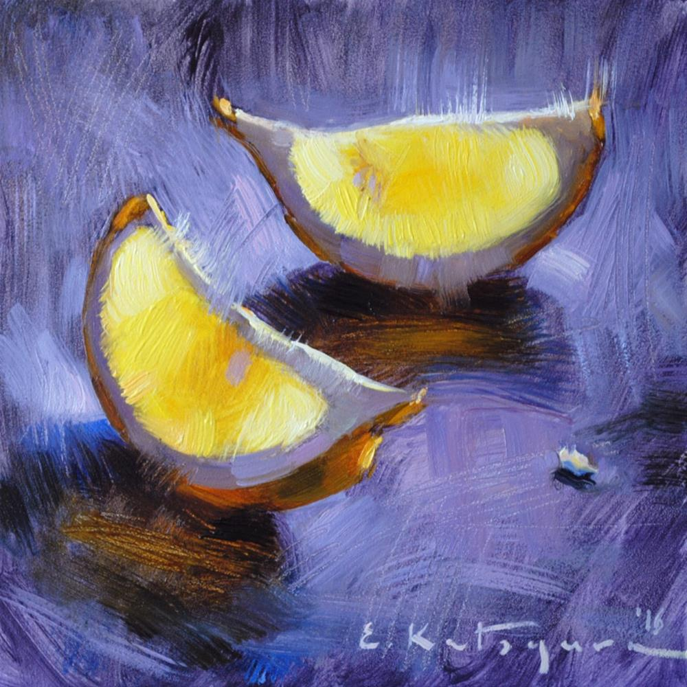"""Lemon Slices"" original fine art by Elena Katsyura"
