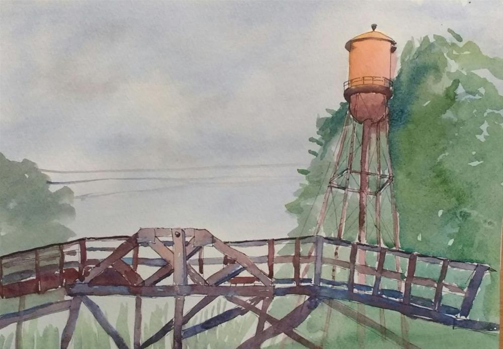 """Woodbridge Inn Water Tower"" original fine art by Maria Peagler"