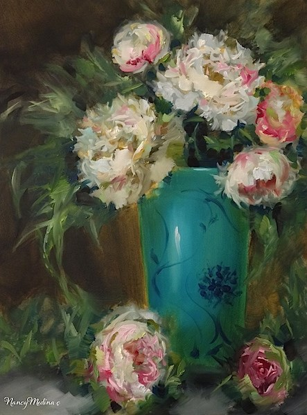 """Peonies in Pink and White by Nancy Medina"" original fine art by Nancy Medina"