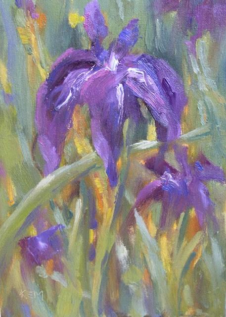 """Purple Iris Plein air Oil"" original fine art by Karen Margulis"