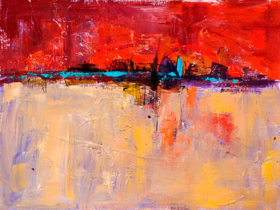 """KMA2739 Beyond Horizons (12x16, abstract, acrylic landscape)"" original fine art by Kit Hevron Mahoney"