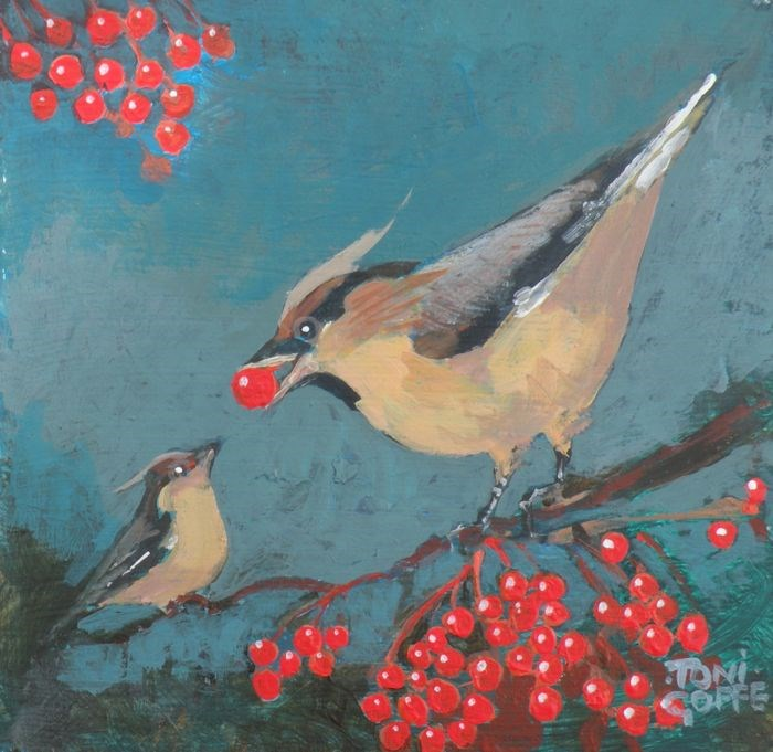 """Waxwing Dilemma"" original fine art by Toni Goffe"