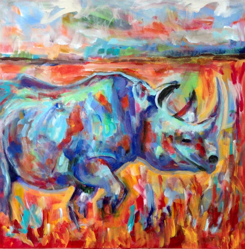"""Rhino"" original fine art by Molly Wright"