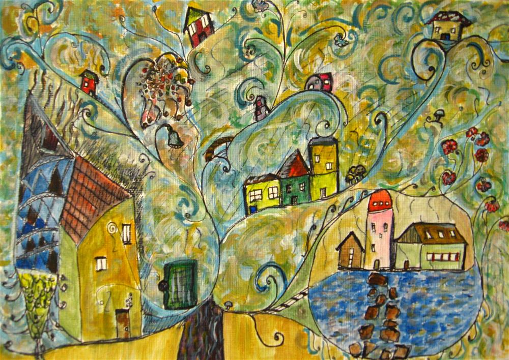 """Tree Village"" original fine art by Alina Frent"