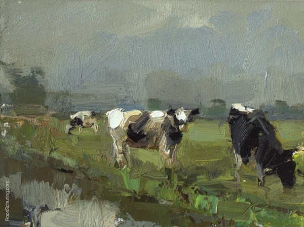 """Grey Day Cows"" original fine art by Roos Schuring"