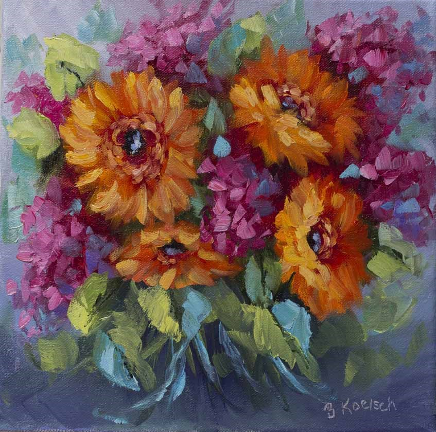 """Golly It's Gerberas"" original fine art by Bobbie Koelsch"