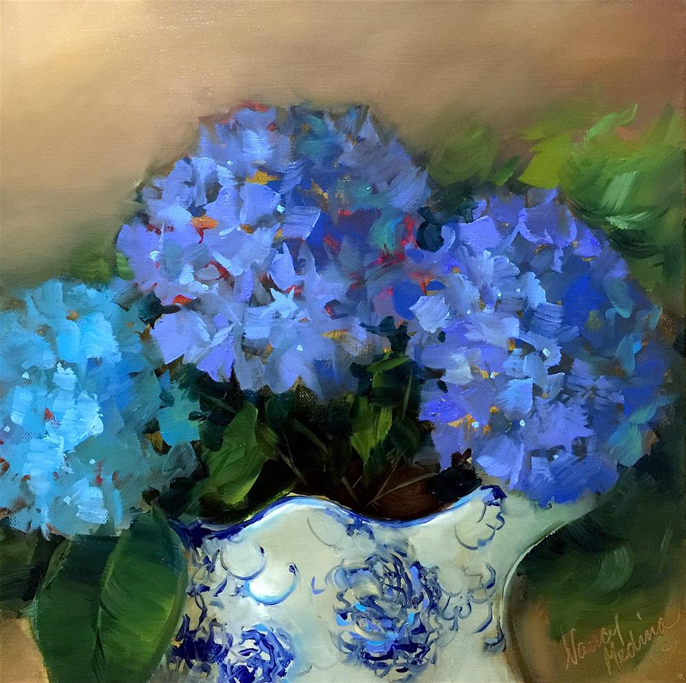 """Blue Shadow Hydrangeas - Nancy Medina Art Classes and Videos"" original fine art by Nancy Medina"