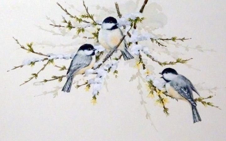 """Chickadees"" original fine art by Jean Pierre DeBernay"