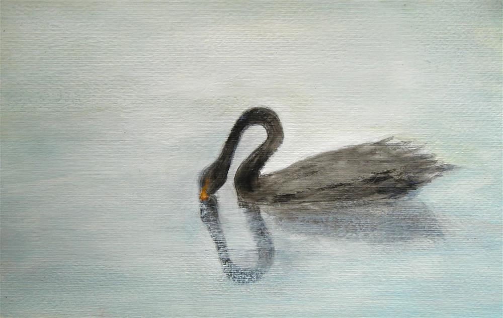 """Black Swan Reflection"" original fine art by Alina Frent"