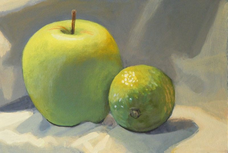 """Apple and lime"" original fine art by Peter Orrock"