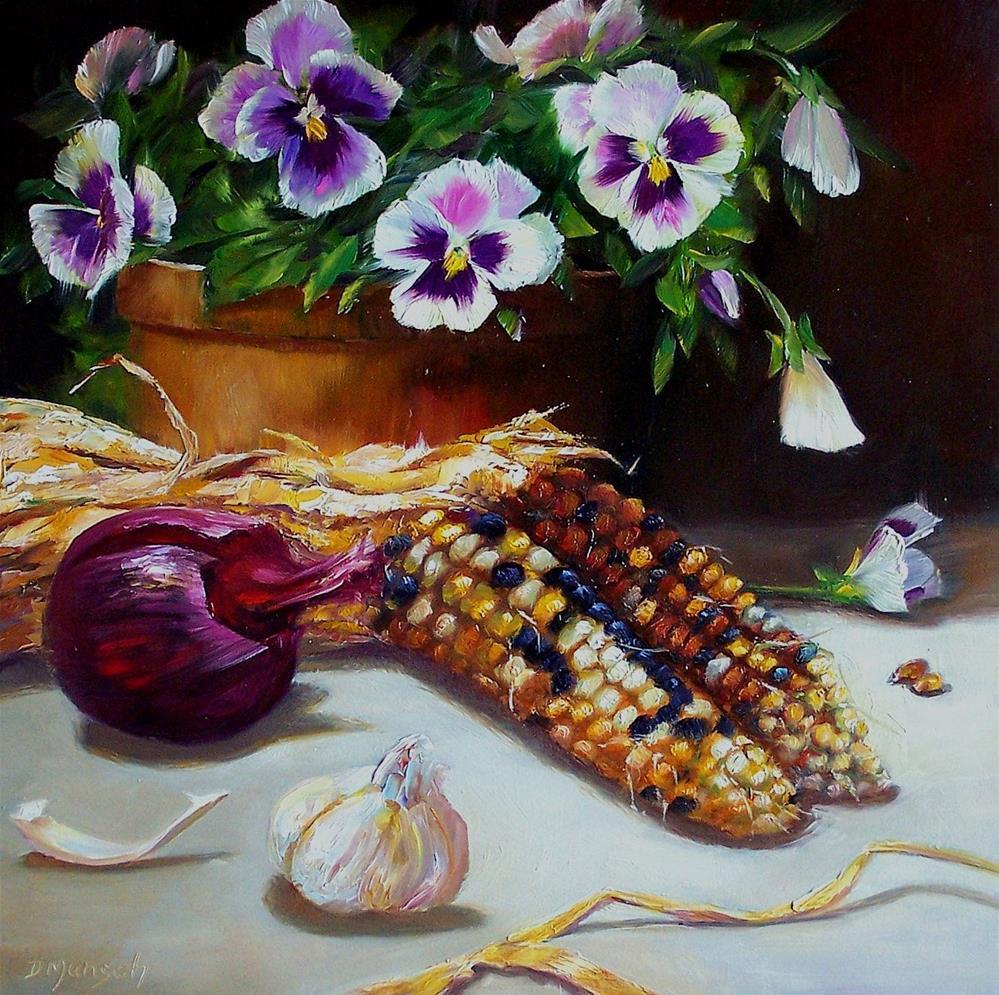 """Autumn Pansies"" original fine art by Donna Munsch"