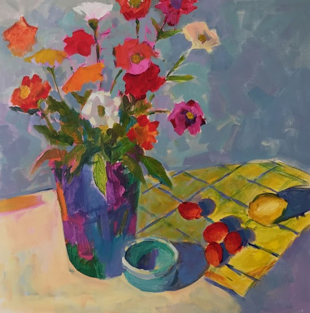 """Zinnias   20x20x2 on gallery wrap canvas. Exhuberant Zinnias painted boldly in acrylic!"" original fine art by Mary Sheehan Winn"