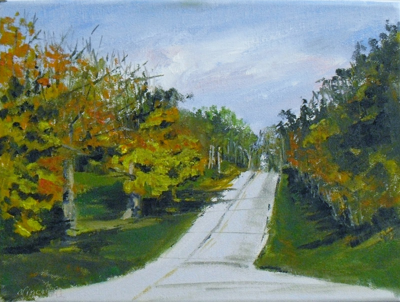 Brush Rd in the Afternoon  9x12 oil on canvas original fine art by Vincenza Harrity