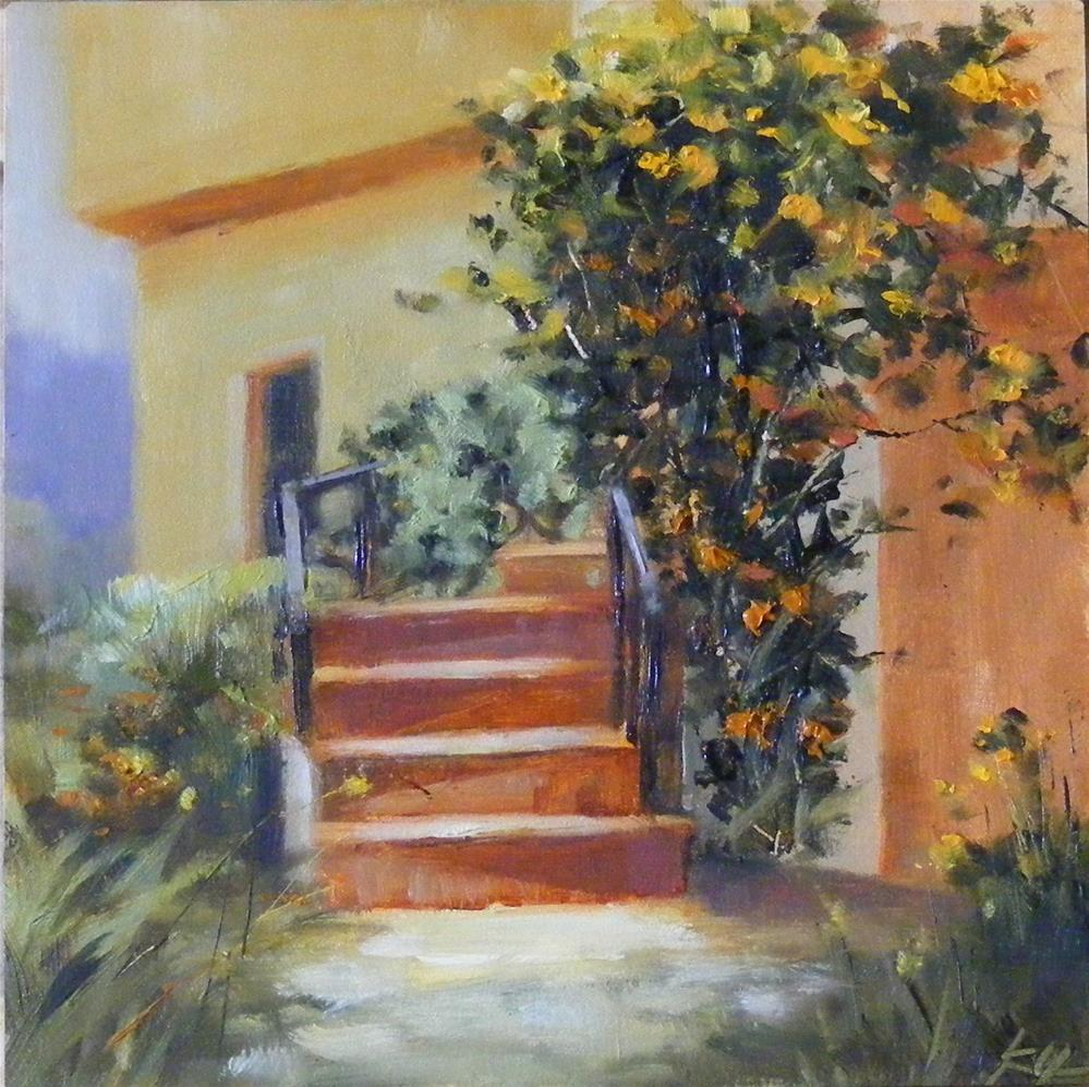 """Sunlit Stairs"" original fine art by Celine K.  Yong"