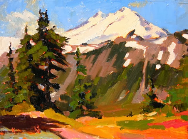 """Mt Baker  from Artists Point, plein air, oil , landscape painting by Robin Weiss"" original fine art by Robin Weiss"