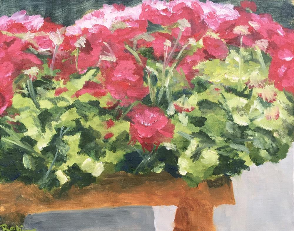 """Cart of Geraniums"" original fine art by Renee Robison"