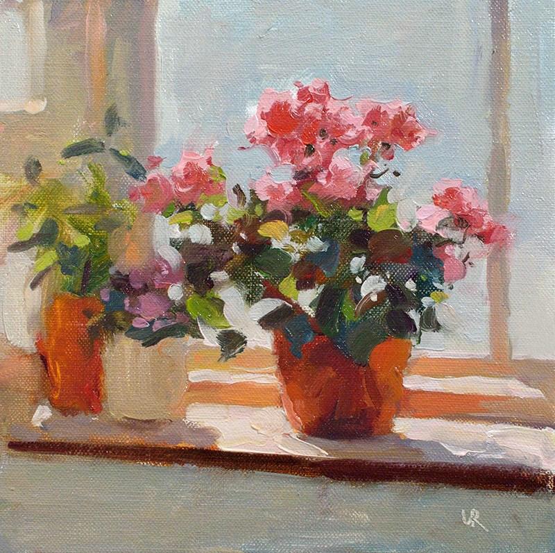 """""""Flowers on a window sill"""" original fine art by Lena  Rivo"""
