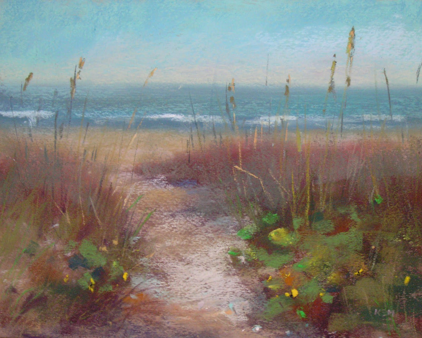 """Sanibel Island Beach Path  8x10  pastel"" original fine art by Karen Margulis"