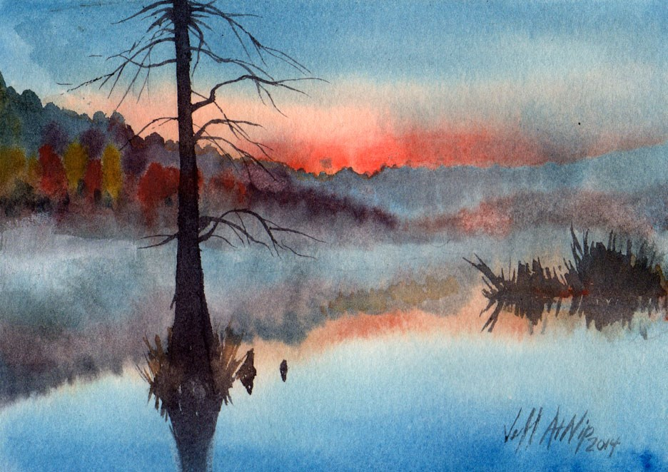 """Morning Mist on Waldoxy Pond"" original fine art by Jeff Atnip"
