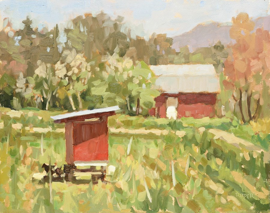 """""""DAY 21: Midday At The Chicken Coop"""" original fine art by Stuart Roper"""