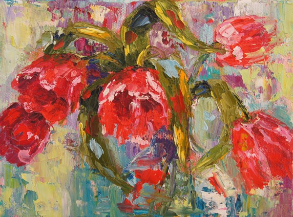 """Red Tulips Flower Arrangement Palette Knife painting in oil"" original fine art by Marion Hedger"