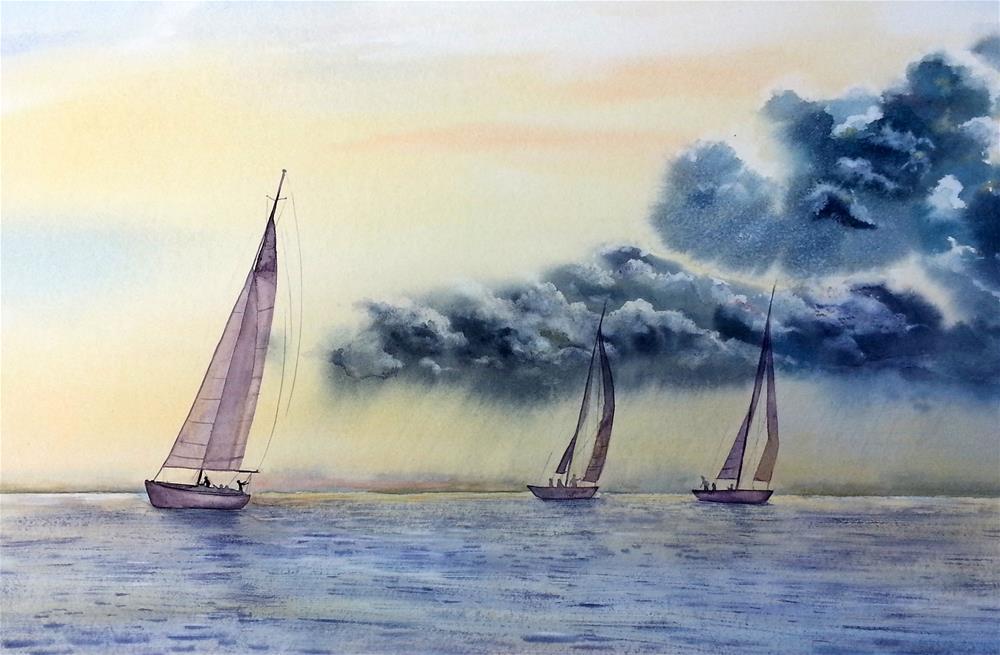 """Storm Clouds at Sea, Sailboats, Seascape "" original fine art by Olga Beliaeva"