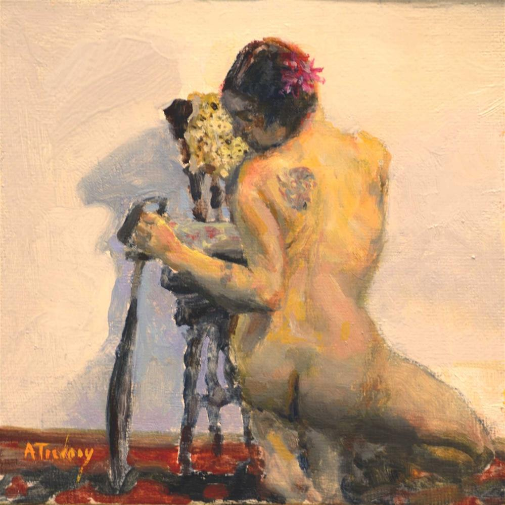 """Back View with Sword and Tatoo"" original fine art by alicia tredway"
