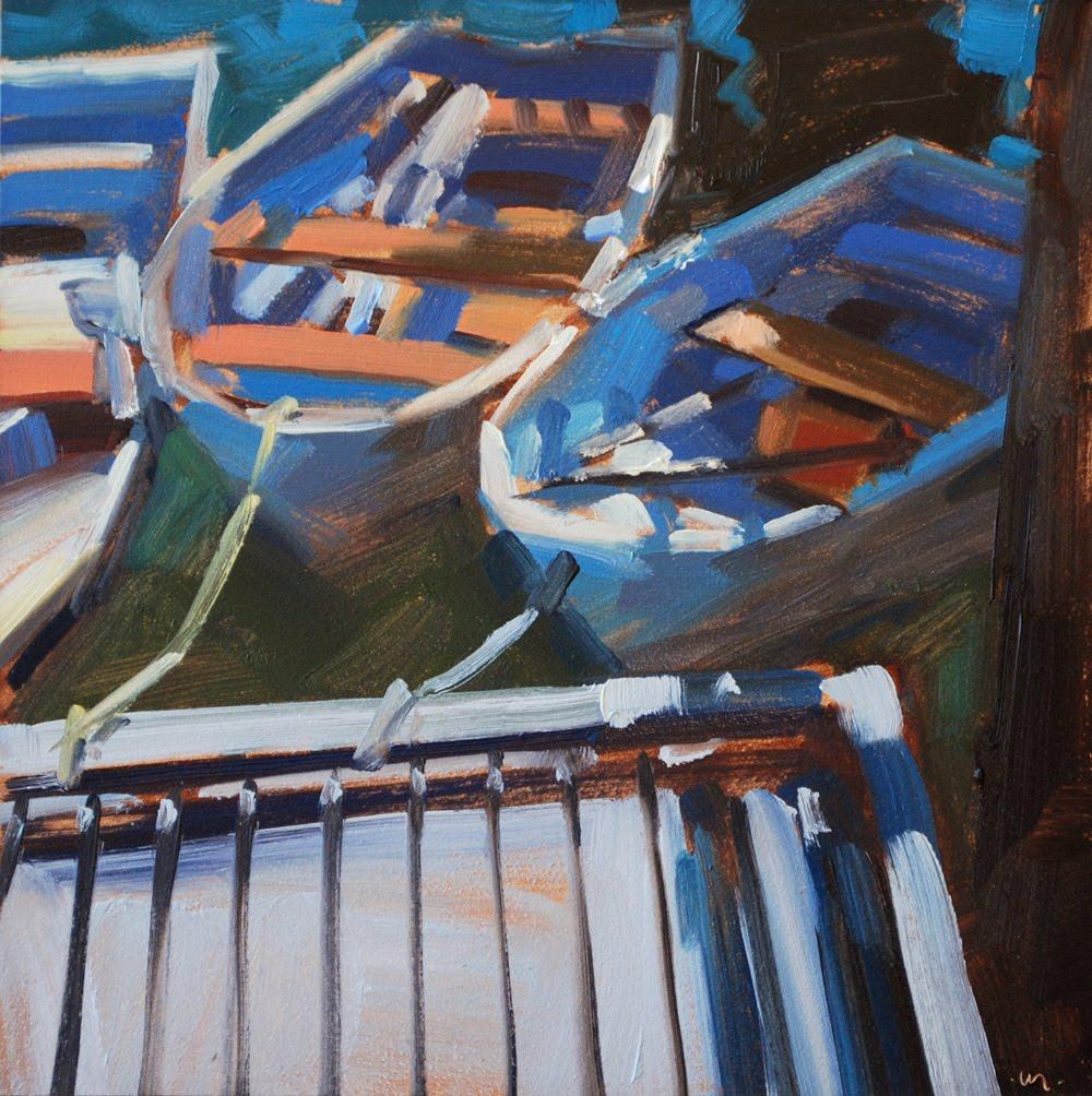 """Dinghies"" original fine art by Carol Marine"