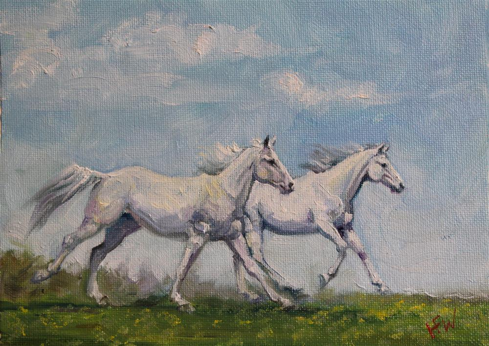 """Summer Ponies"" original fine art by H.F. Wallen"