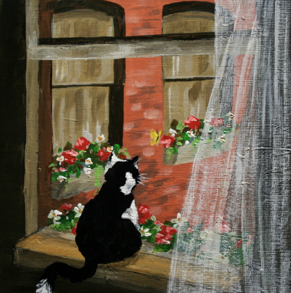 """Purr-fect View"" original fine art by Jean Nelson"