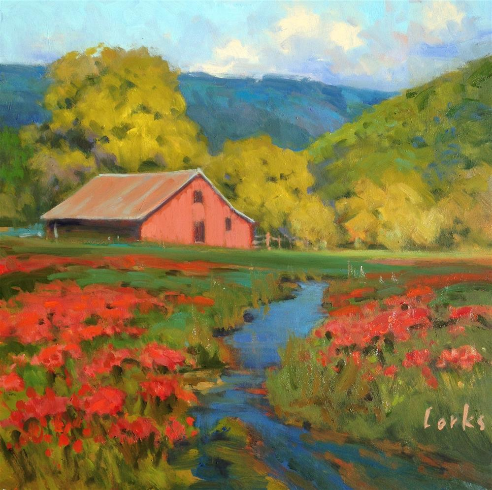 """Red Barn and Poppies"" original fine art by David Forks"