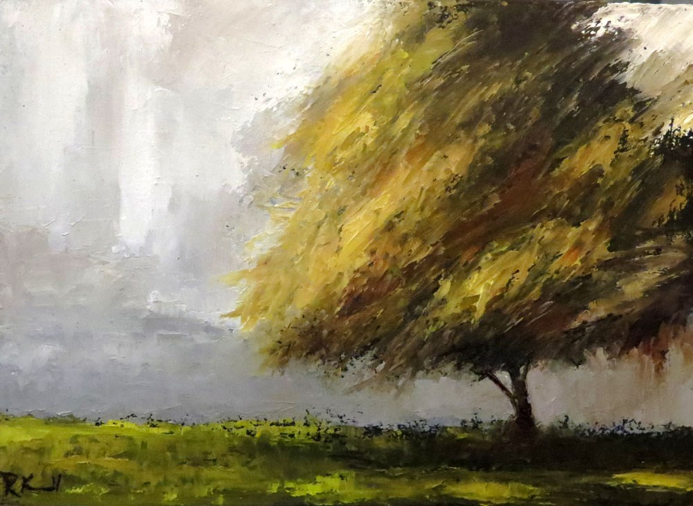 """Old Shade Tree in the Park"" original fine art by Bob Kimball"