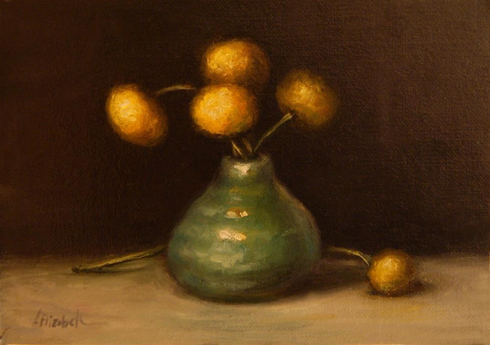 """Yellow Billy Buttons in Turquoise Vase Oil on 5x7 Linen Panel"" original fine art by Carolina Elizabeth"