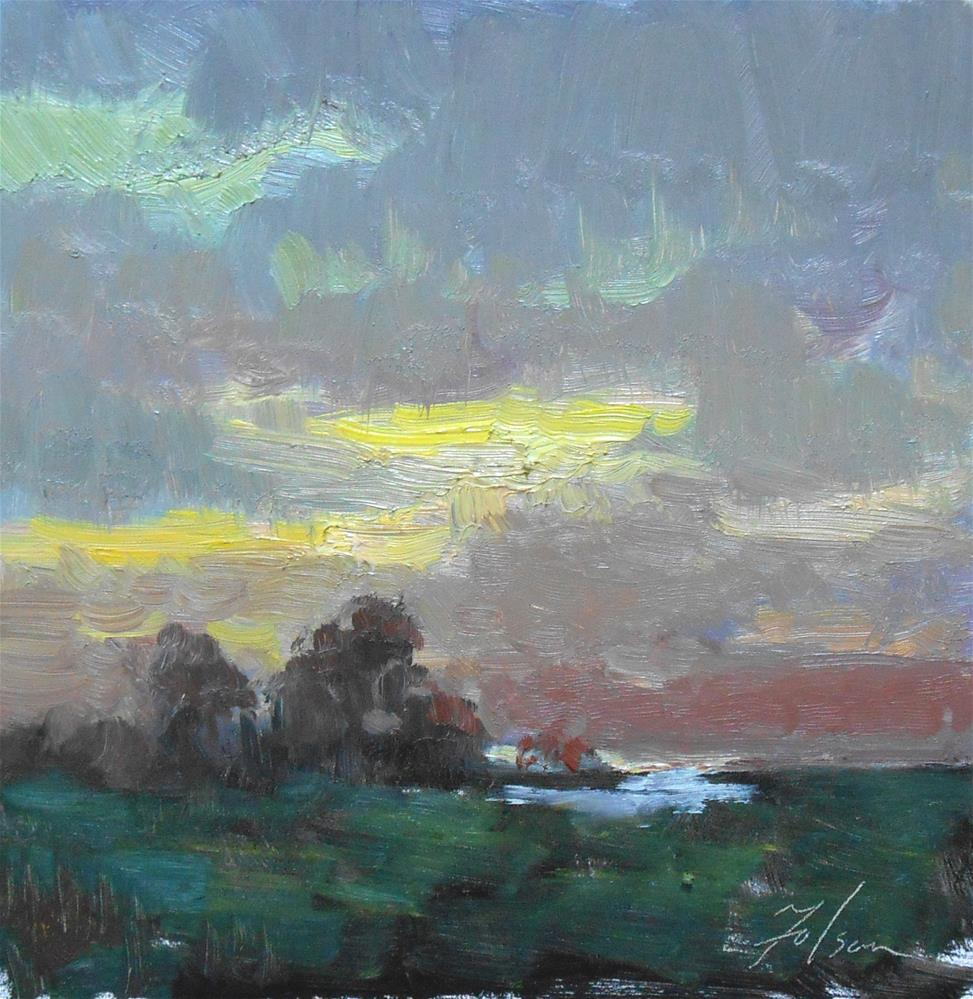 """Marsh Sunrise"" original fine art by Kelli Folsom"