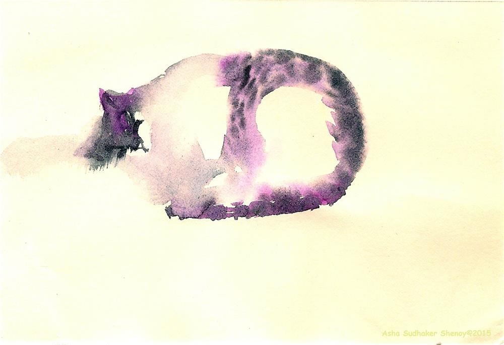 """The Purple cat"" original fine art by Asha Shenoy S"