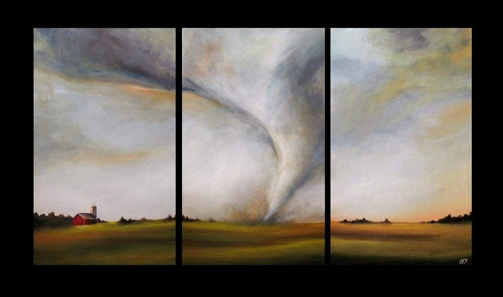 """Commissioned Tornado Triptych"" original fine art by ~ces~ Christine E. S. Code"