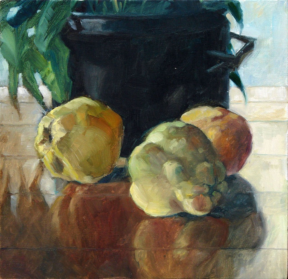 """Quinces & black pot"" original fine art by Myriam Kin-Yee"