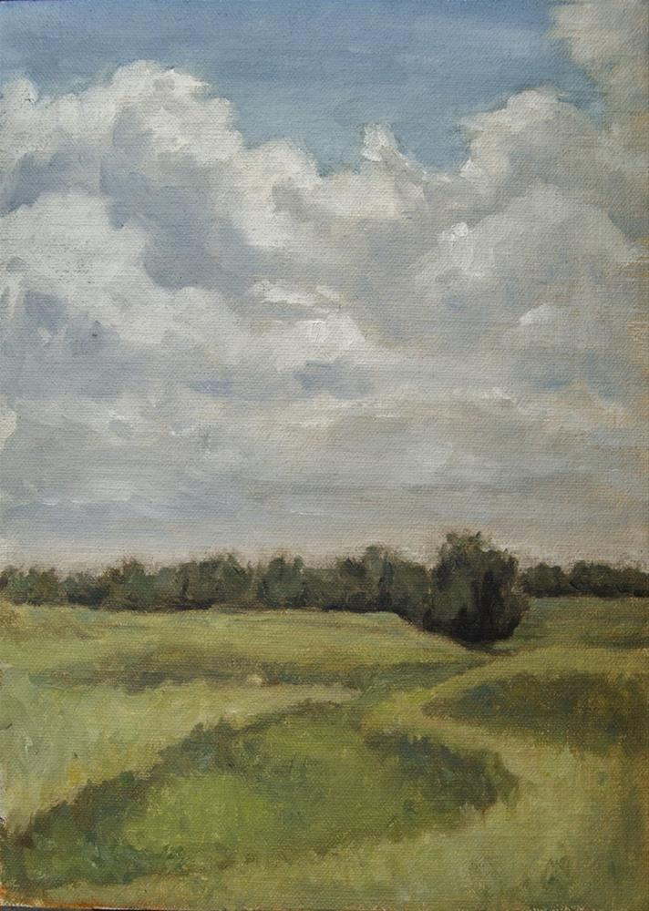 """Cloudy Day Field April 2016"" original fine art by Rachel Steely"