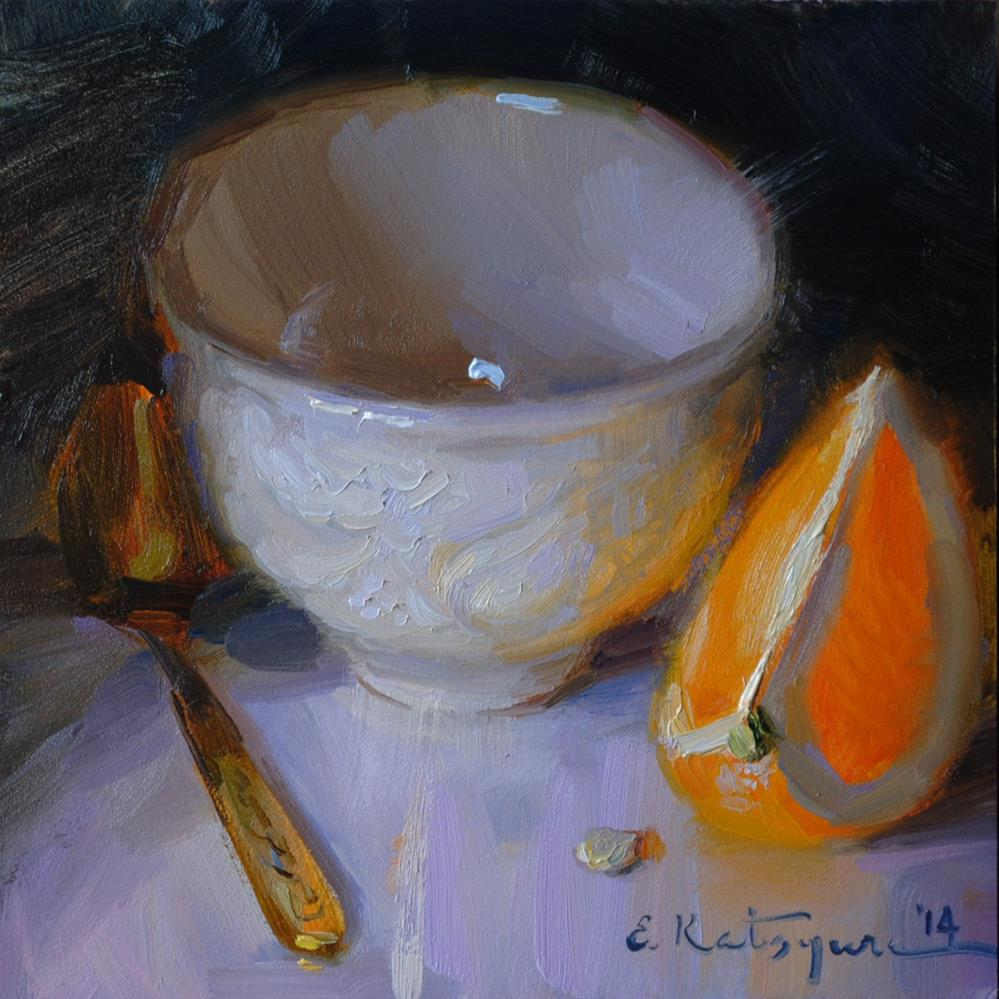 """Cup and Orange"" original fine art by Elena Katsyura"