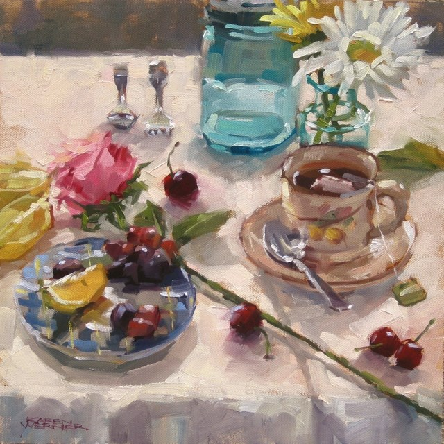 """On A White Tablecloth"" original fine art by Karen Werner"