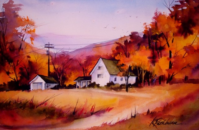 """Autumn's Aglow"" original fine art by Kathy Los-Rathburn"