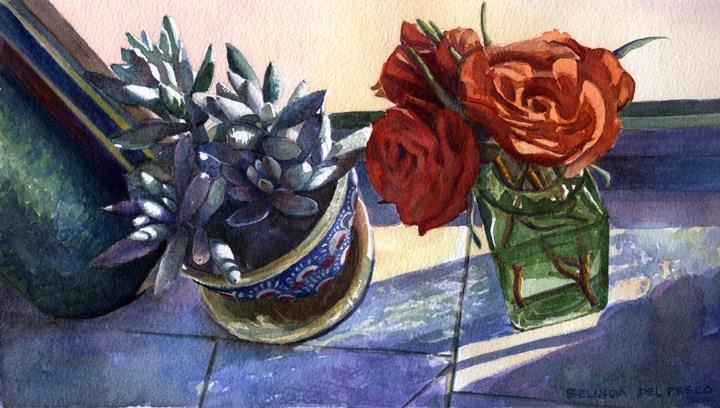 """Watercolor: Cocoon Plant & Roses"" original fine art by Belinda Del Pesco"