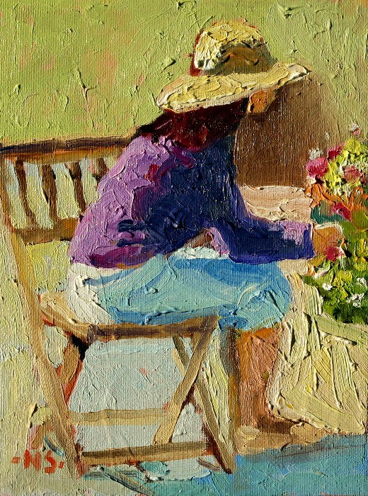 """Seated Figure with Hat 12044 SOLD 5/22/2012"" original fine art by Nancy Standlee"