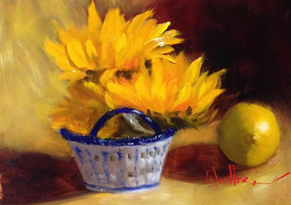 """Blue and White Basket with Sunflowers"" original fine art by Dorothy Woolbright"