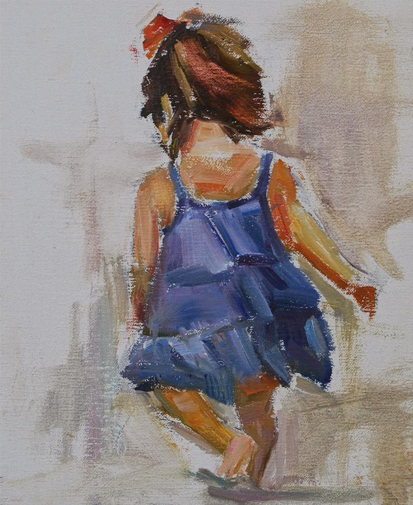 """On A Mission- Little Girl on the Beach, Original oil by Carol DeMumbrum"" original fine art by Carol DeMumbrum"