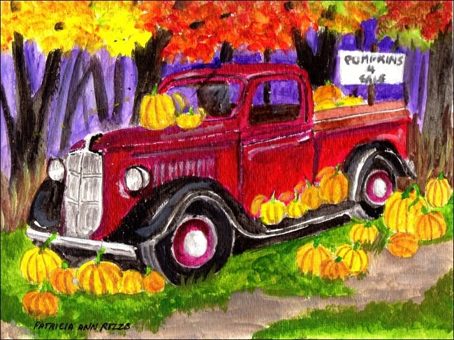 """The Pumpkin Truck"" original fine art by Patricia Ann Rizzo"