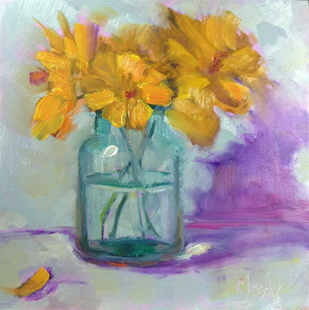 """Yellow flowers"" original fine art by Carol Josefiak"